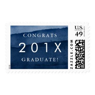 """Indigo Watercolor """"Congrats Graduate"""" Graduation Postage"""
