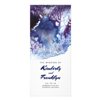 Indigo Watercolor Crystals Modern Wedding Programs