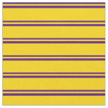 [ Thumbnail: Indigo & Yellow Colored Lined Pattern Fabric ]