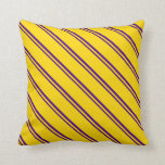 [ Thumbnail: Indigo & Yellow Colored Lined Pattern Throw Pillow ]