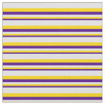 [ Thumbnail: Indigo, Yellow & Lavender Pattern Fabric ]