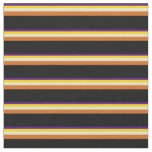 [ Thumbnail: Indigo, Yellow, Pale Goldenrod, Chocolate & Black Fabric ]