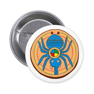 Indio American Native araña de spider aquel spi Pin Redondo 5 Cm