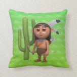 Indio americano lindo 3d con el cactus (editable) almohadas