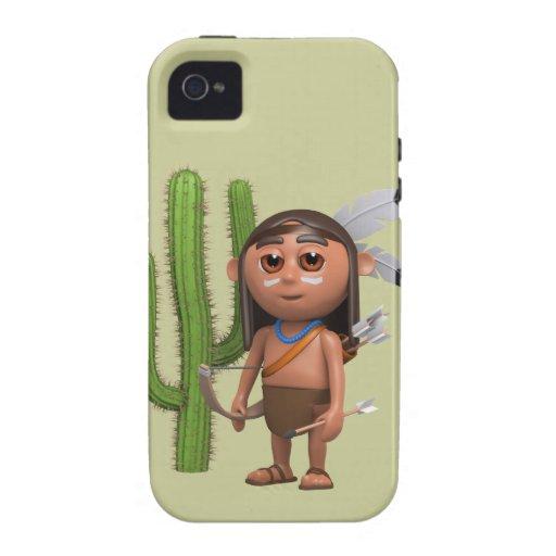 Indio americano lindo 3d con el cactus (editable) vibe iPhone 4 funda