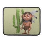 Indio americano lindo 3d con el cactus (editable) fundas para macbook pro