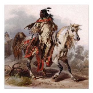 Indio Blackfoot en el caballo árabe que es