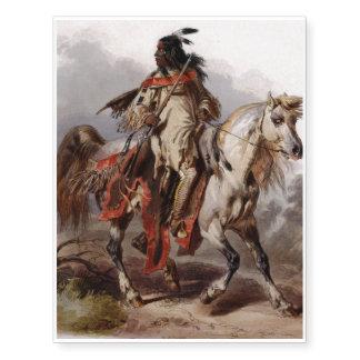 Indio Blackfoot en el caballo árabe que es Tatuajes Temporales