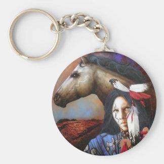 Indio/caballo Llavero Redondo Tipo Pin