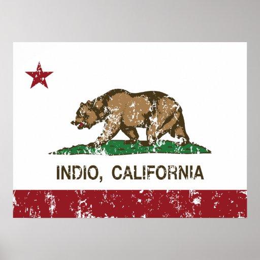 indio de la bandera de California apenado Posters