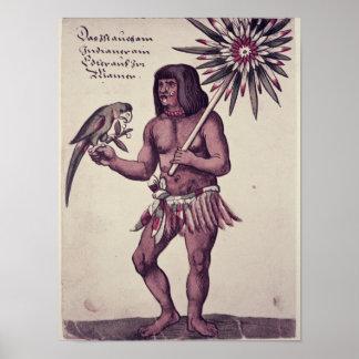 Indio del Amazonas, grabado por Theodore de Bry Poster