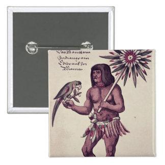 Indio del Amazonas, grabado por Theodore de Bry Pin Cuadrada 5 Cm