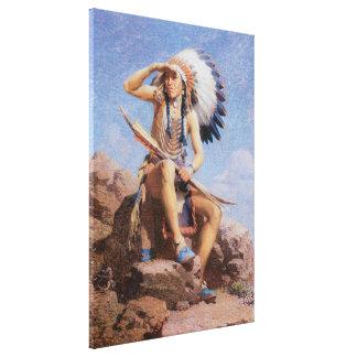 Indio del nativo americano del vintage, el lienzo envuelto para galerias