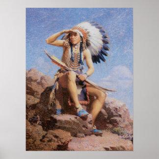 Indio del nativo americano del vintage, el póster