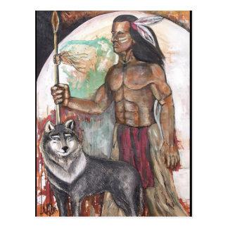 Indio del nativo americano y postal del lobo