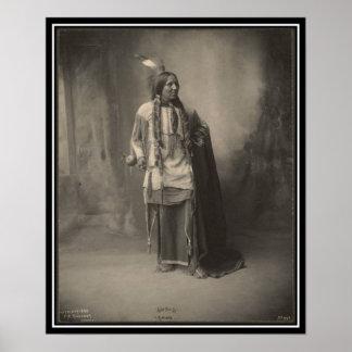 Indio del vintage Seis dedos del pie Kiowa - Poster