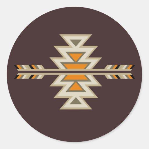Indio Diseño-Brown del sudoeste Etiquetas Redondas