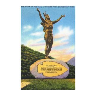 Indio en la estatua del rastro en la opinión del p impresión en lienzo