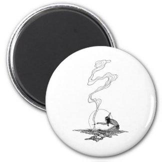 Indio en su soledad por NC Wyeth, vintage del Imán Redondo 5 Cm