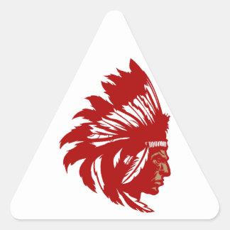Indio jefe de tribu cabeza American Native chief h Pegatina Triangular