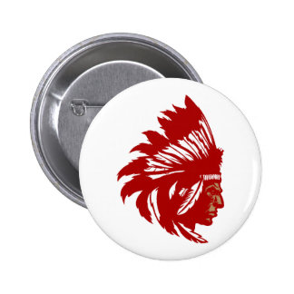 Indio jefe de tribu cabeza American Native chief h Pin Redondo 5 Cm
