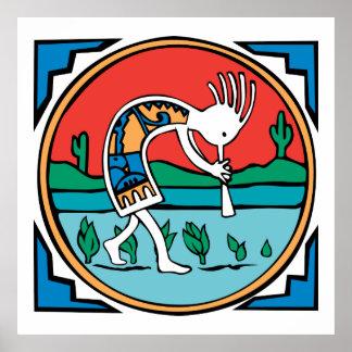 Indio Kokopelli del nativo americano Póster