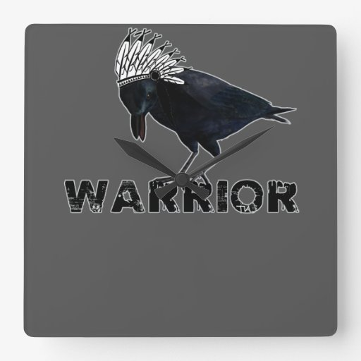 Indio negro del guerrero del cuervo reloj cuadrado