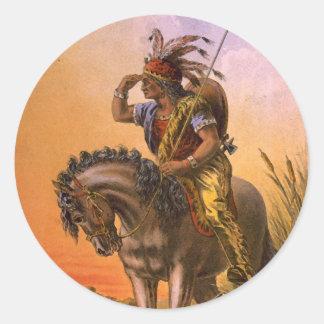 Indio negro del nativo americano del halcón etiquetas redondas