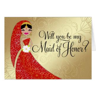 Indio trigueno de Updo del vestido adornado de la Tarjeta De Felicitación