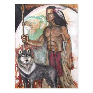 Indio y lobo del nativo americano tarjetas postales