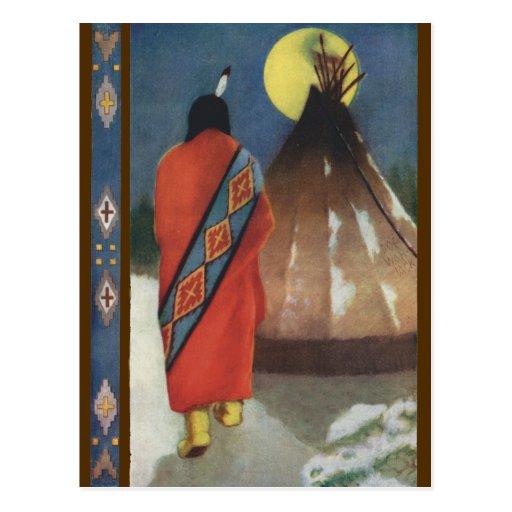Indio y tienda de los indios norteamericanos del postal