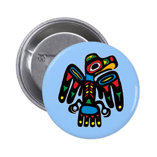 Indios American Native cuervo raven Pin Redondo 5 Cm