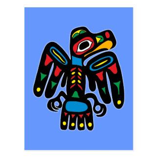 Indios American Native cuervo raven Postal