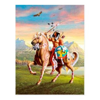 Indios americanos Brave en caballo Tarjetas Postales