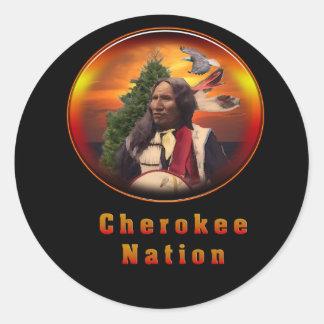 Indios cherokees pegatina redonda