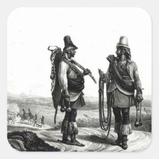 Indios de Charrua Pegatina Cuadrada