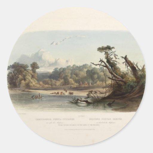 Indios de Karl Bodmer- Encamped en los bancos de Pegatina Redonda
