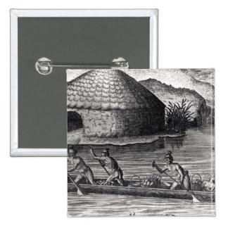 Indios de la Florida que almacenan sus cosechas Pin Cuadrado