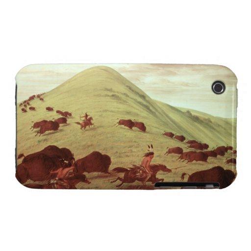 Indios de Siux que cazan el búfalo, 1835 (aceite Funda Bareyly There Para iPhone 3 De Case-Mate