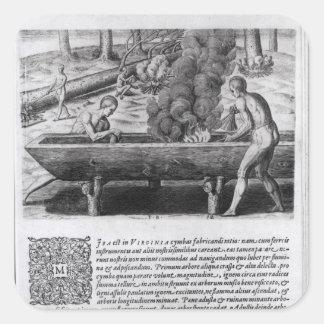 Indios de Virginia que hacen los barcos del Calcomanias Cuadradas