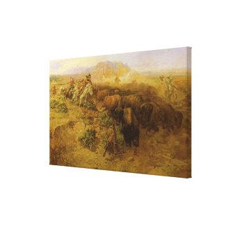 Indios del vintage, caza del búfalo por cm Russell Lona Envuelta Para Galerias
