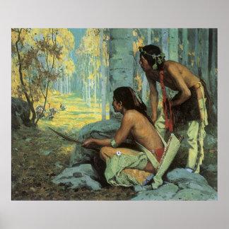 Indios del vintage, cazadores de Taos Turquía por Póster