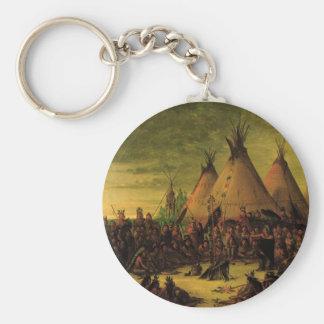 Indios del vintage, consejo de la guerra de Siux Llavero Redondo Tipo Pin