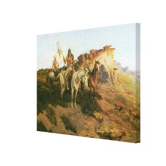 Indios del vintage, merodeadores de la pradera, impresión en lienzo estirada