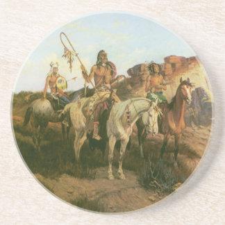 Indios del vintage, merodeadores de la pradera, posavasos manualidades