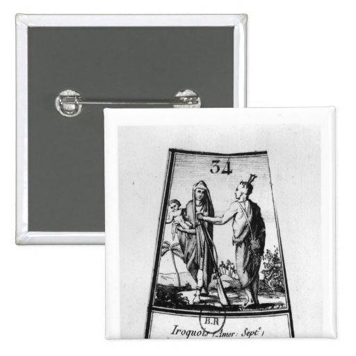 Indios Iroquois Pin Cuadrada 5 Cm