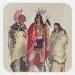 Indios norteamericanos, c.1832 calcomanía cuadrada