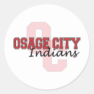 Indios OC de la ciudad de Osage Pegatina Redonda