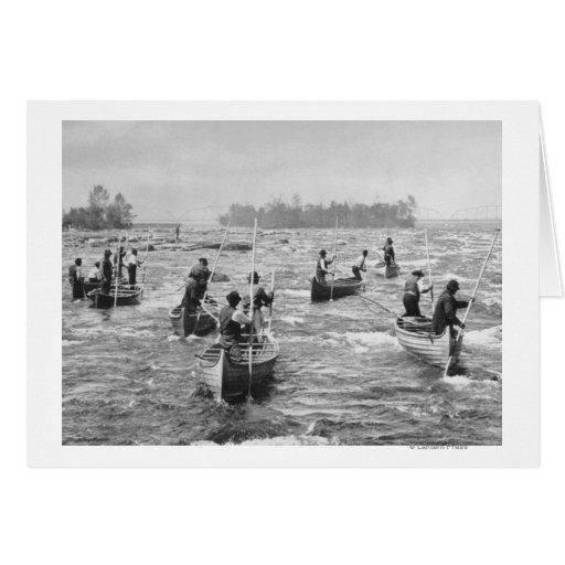 Indios que pescan en la fotografía del canal de So Tarjeta De Felicitación