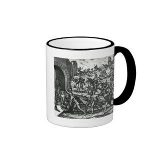 Indios que traen los floreros del balboa y los obj taza de café